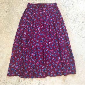 Vintage Button Down Maxi Floral Skirt Medium